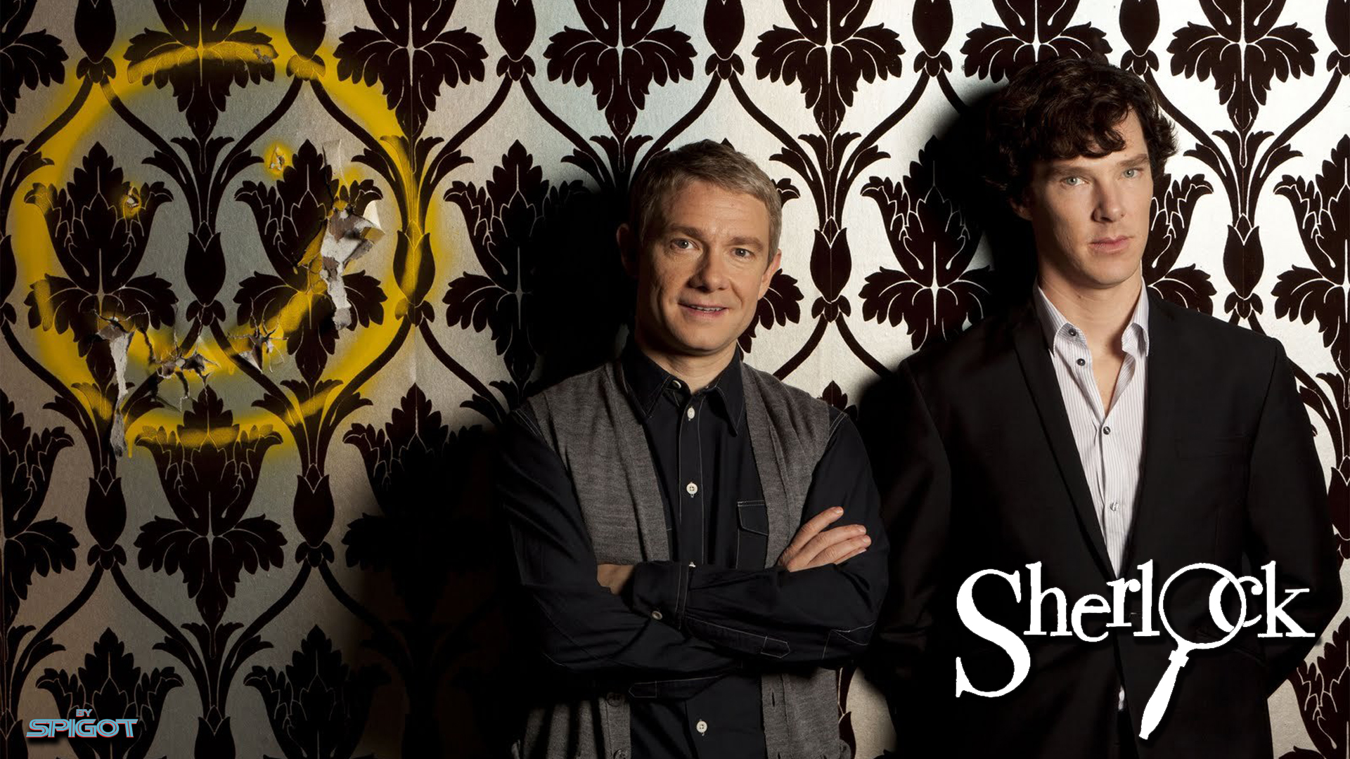 Sherlock Smiley Wallpaper fabric - mellymellow - Spoonflower
