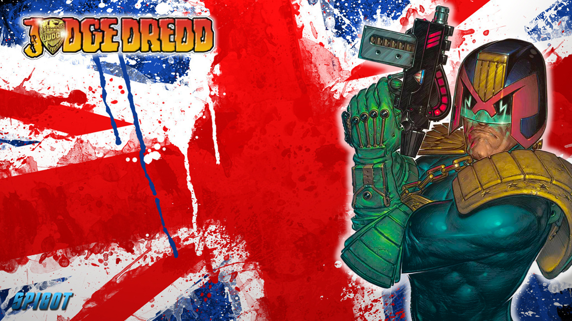 Bewseychip: Judge Dredd And The Union Jack Wallpaper